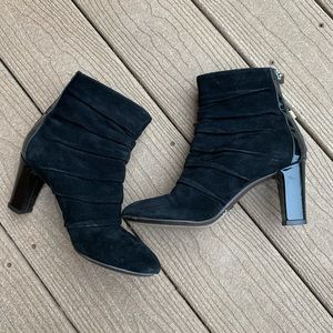 Aquatalia Ruched Suede Patent Leather Zip-up Boots